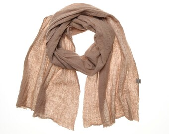 Wool and linen, plant dyed scarf BREEZ ( grey - rose )