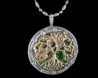Tree of Life Polymer Clay Pendant -Tree of Life in filigree design - silver, bronze and iridescent material, statement pendant