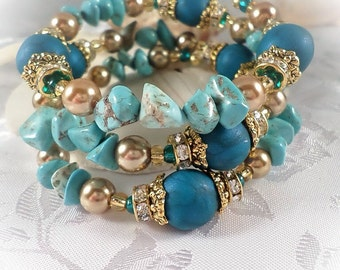 Bracelet - wrap bracelet - polymer clay peacock pearl beads, turquoise chips, rondelle crystal spacer beads and satin gold glass pearls.