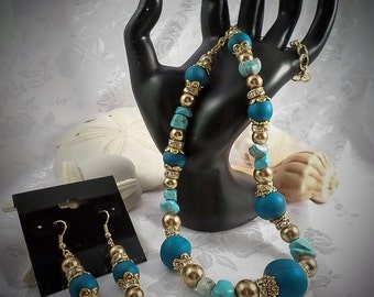 Polymer Clay Jewelry Set - polymer clay peacock pearl beads, turquoise chips, rondelle crystal spacer beads and satin gold glass pearls.