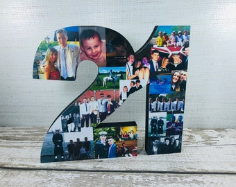 Freestanding Double Photo Number Collage Birthday Gift Letter Personalised