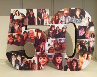 freestanding double photo number photo collage birthday etsy