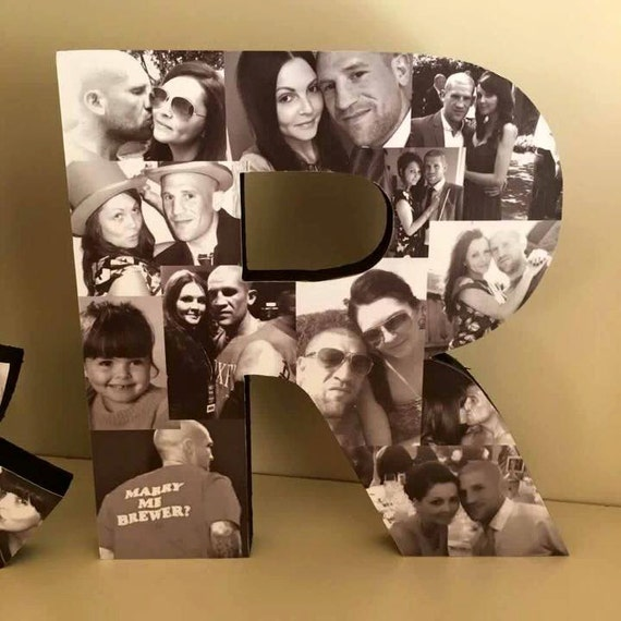 Freestanding Photo Letter Photo Collage Heart Collage Photo Etsy