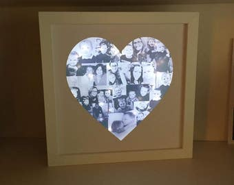 Light Up Box Frame, Light Up Photo Frame, Heart Frame, Heart Shaped, Photo Collage,