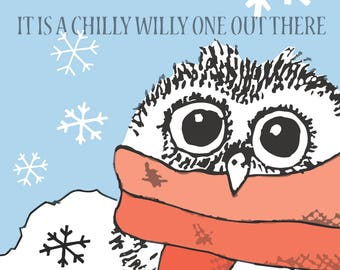 Winter Card / Christmas Card / It is a Chilly Willy One out there / Holiday Card / Seasonal