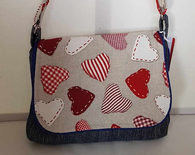 Bag for women, bags in the UK, crossbody bag, shoulder bag, bag handmade in UK , one-off bag, piped edges, Valentine's gift,  gift for her