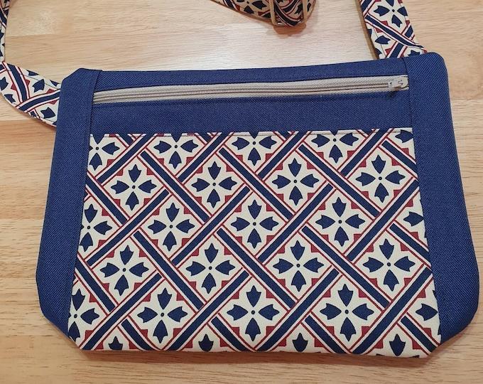 Bag for ladies, crossbody bag, adjustable strap bag, handmade bag, blue bag, summer bag, zipped bag, womens bag, shoulder bag,