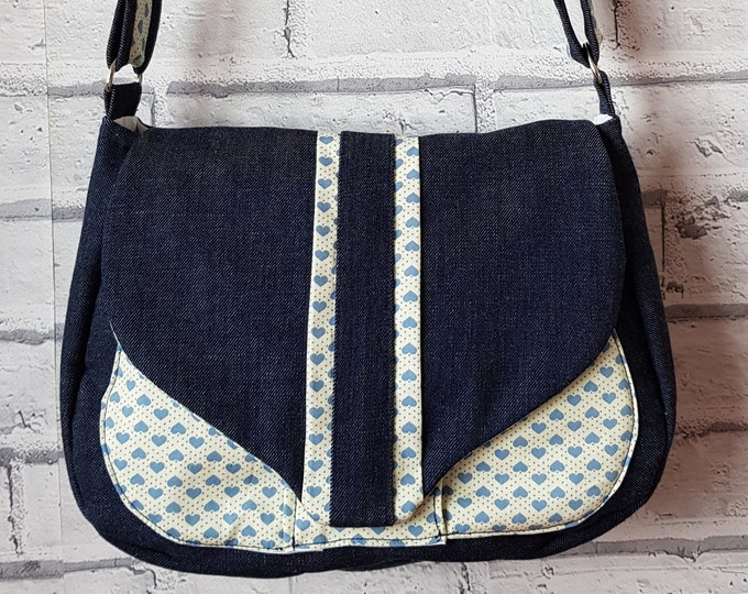 Bag, Denim bag, ladies bag, blue denim bag with contrast fabric, handmade bag, shoulder bag, crossbody bag