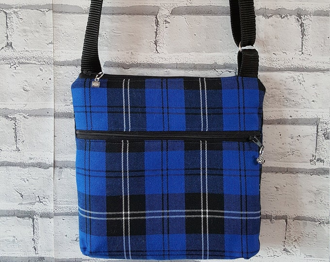 Tartan bag, crossbody bag, ladies' bag, two zip bag, inner pocket bag, soft tartan fabric, shoulder bag, Mothers day gift, walking bag