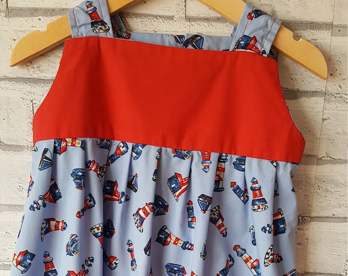 Child's summer dress, sundress, colourful dress, seaside dress, red and blue dress, cool summer dress, cotton summer dress, lighthouse dress