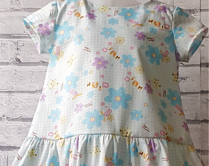 Child's cotton dress, summer dress, loose fitting dress, dropwaist dress, cap sleeved dress, lightweight dress, cotton frock, holiday dress