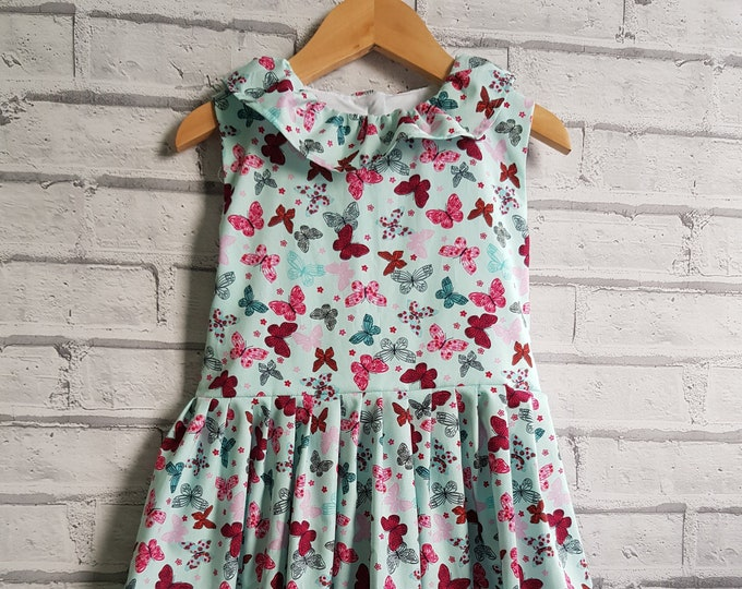Girls' dresses, summer dresses, butterfly fabric, sleeveless dress, neck ruffle dress, retro dresses, traditional style dress, turquoise