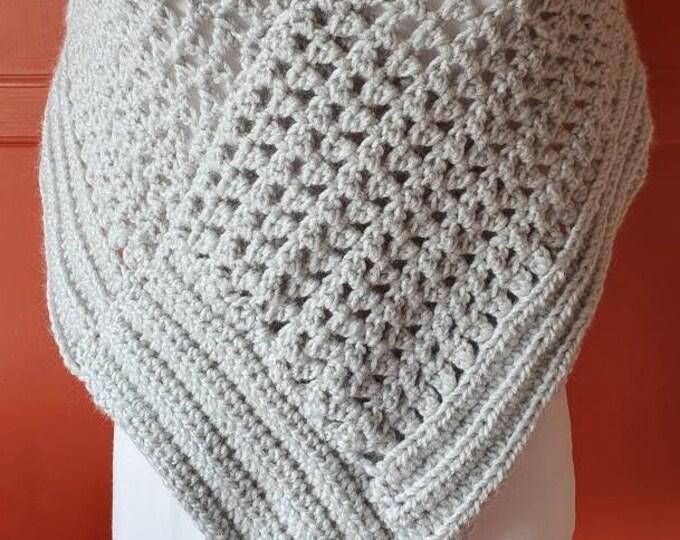 Poncho, handmade in crochet, soft grey acrylic yarn, cosy to wear, useful wrap, shoulder wrap, shawl wrap, extra layer, cover-up wrap