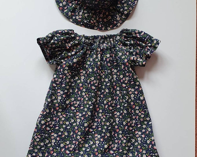 Dress and hat, size 2-3yrs approx, pretty print polycotton fabric, child's dress, dress for girl aged 2yrs, handmade dress, sunhat