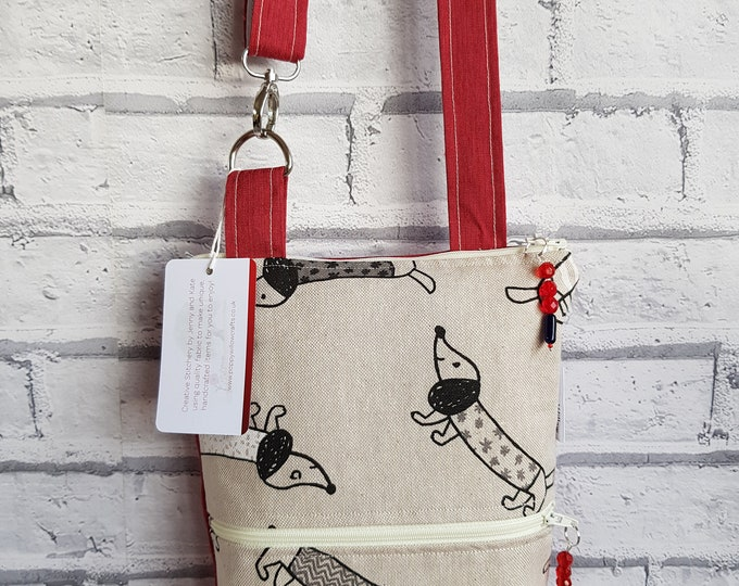 Crossbody bag, useful bag, phone pocket bag, adjustable strap bag, small bag, sausage dog bag, funky bag, Mothers day gift, zipped bag