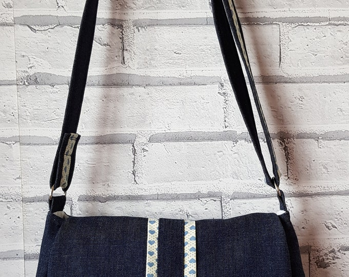 Bag, Denim bag, ladies bag, blue denim bag with contrast fabric, handmade bag, shoulder bag, crossbody bag
