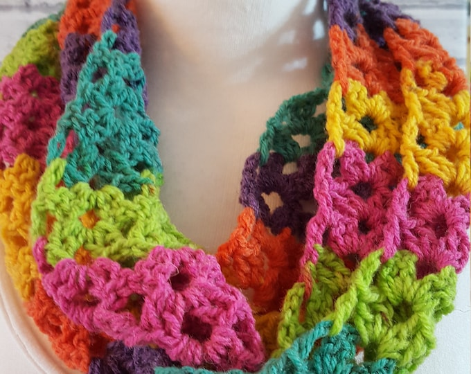 scarf, infinity scarf, long cowl, cowl, neck scarf, crochet scarf, multicolour scarf, multicolour infinity scarf, shaded scarf,