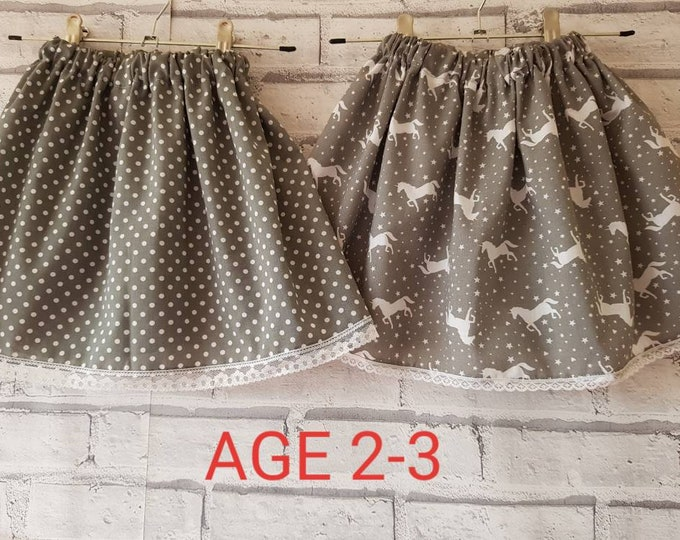 Grey cotton spotted pattern skirt, girl's skirt,  pretty skirt, summer skirt, Poppy Willow skirt, elastic waist skirt,cotton skirt