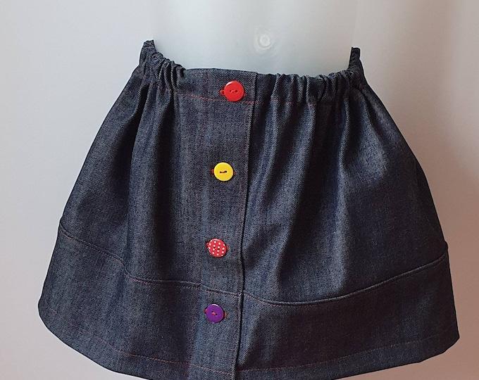 Girl's denim skirt, handmade skirt, quirky skirt, mock front fastening, elastic waist skirt, mismatch buttons, soft denim, red stitching