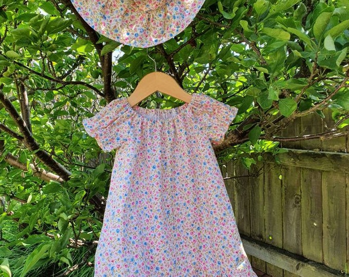 Summer dress and hat, size 2-3yrs approx, pretty print polycotton fabric, child's dress, dress for girl aged 2yrs, handmade dress, sunhat
