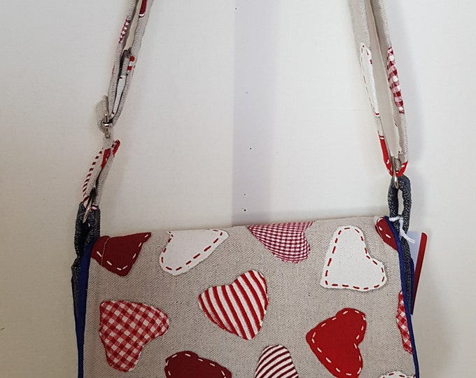 Bag, bag for ladies, heart bag, crossbody bag, shoulder bag, handmade bag , one-off bag, piped edges, gold shimmer cork, flapped bag