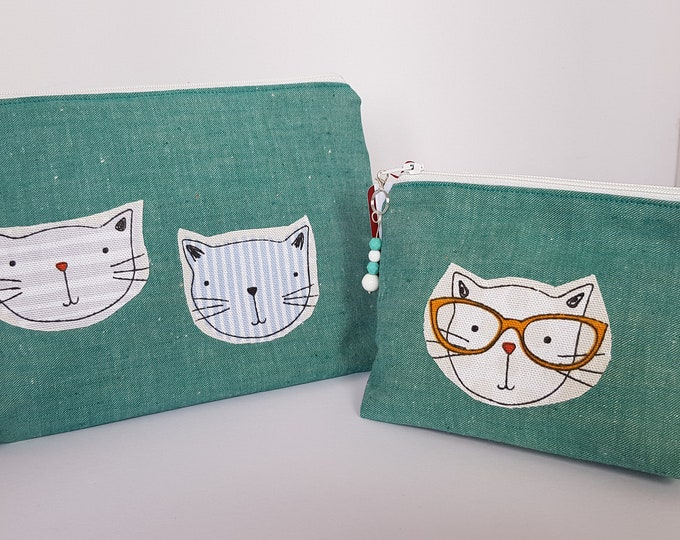 Cat green denim cosmetic bags, make up bags with cats, pouches with cats, zipped pouches with cats