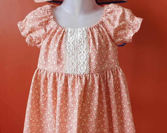 Retro dress and sunhat, dusky pink print with cotton lace trim