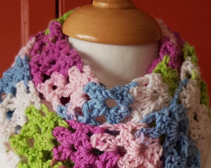 Infinity scarf, crochet scarf, circular scarf, hand crochet scarf, multicoloured crochet scarf