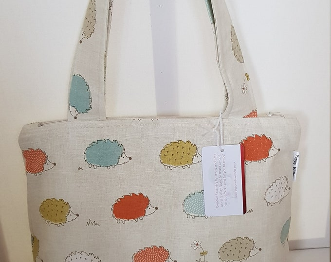 Ladies' bag, bag for ladies, quirky bag, hedgehog bag, handmade bag, two strap bag, zipped top bag, summer bag, unusual bag