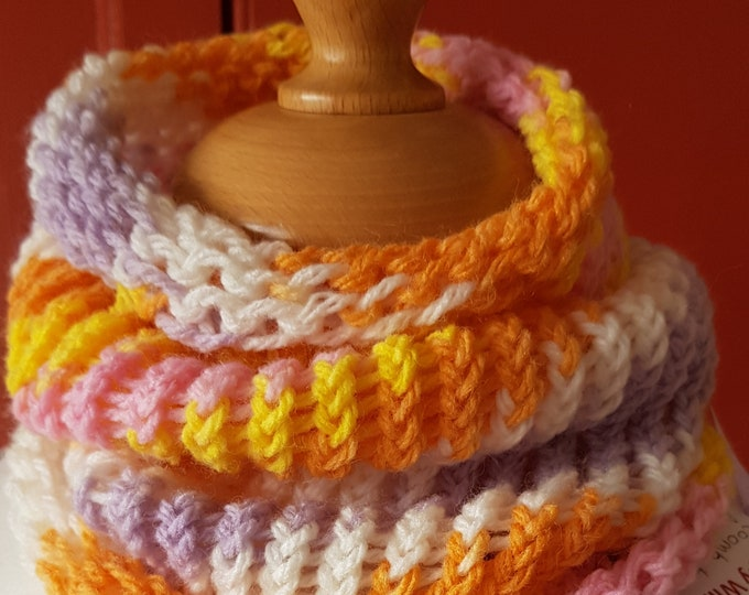Neckwarmer, cowl, loom knit neck warmer, circular scarf, lightweight scarf, cosy neck warmer