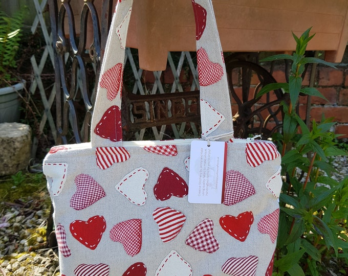Ladies bag, hearts bag, bag with red hearts, shoulder bag, zipped bag, inner pocket bag, holiday bag, birthday gift, quirky fabric bag,
