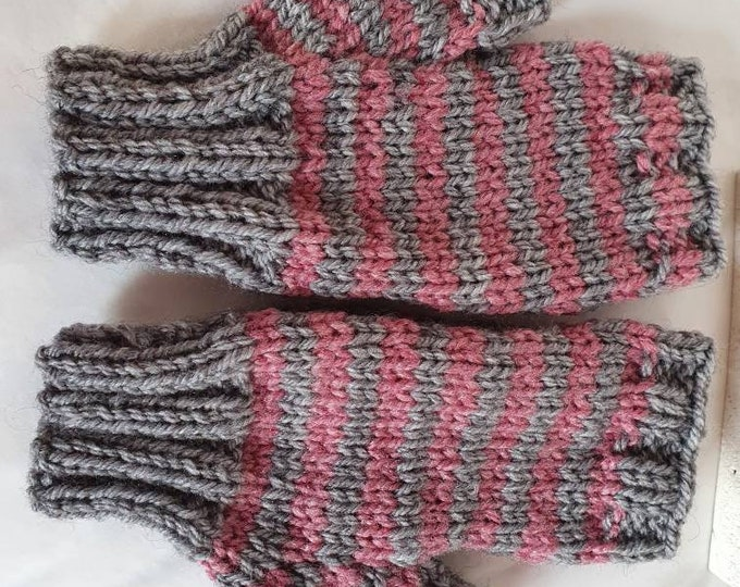 Handwarmers, fingerless gloves, hand knitted gloves,  handmade gloves in grey and pink striped,  handmade striped gloves