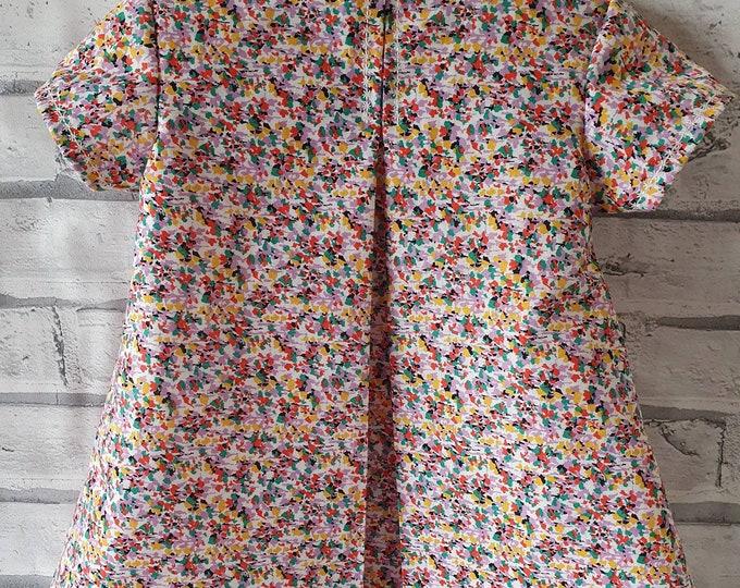 Summer dress for 1-2 year old, pretty summer dress, dress for toddler, dress for little girl, handmade dress, classic style for toddler