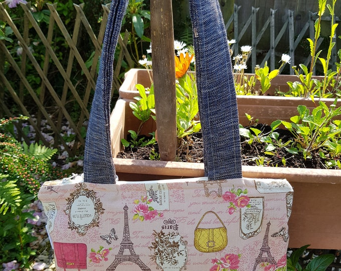 Ladies bag, shoulder bag, handbag, Poppy Willow bag, lightweight bag, summer bag, holiday bag, birthday gift, Paris fabric, handmade bag