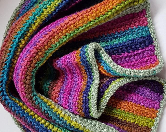 Crochet blanket, baby blanket, car seat blanket, lap blanket, handmade blanket, striped blanket, soft blanket, cosy blanket, carseat blanket