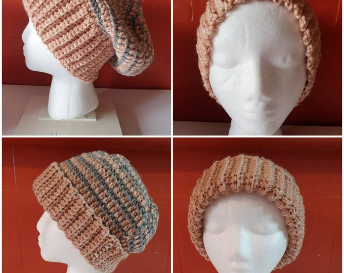 Beanie hat, handmade, crochet, can be worn in slouchy style or traditional style