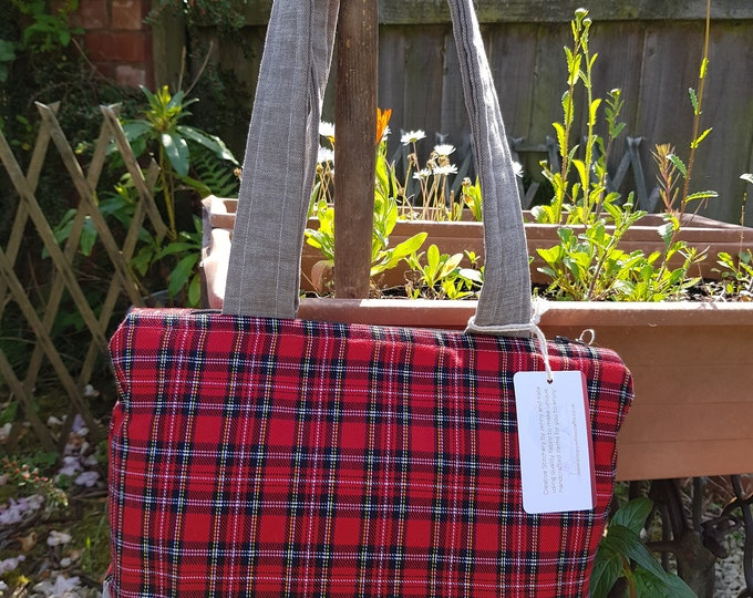 Ladies bag, tartan bag, shoulder bag, two-tone bag, embroidered bag, Poppy Willow bag, summer bag, zip top bag, bag for ladies, one-off bag