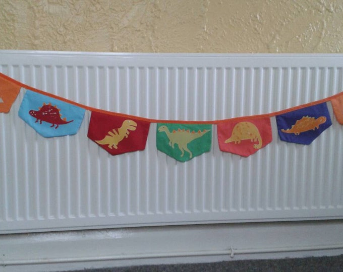 Dinosaur bunting, handmade bunting, dino bunting, unique bunting, colourful dino bunting, appliqued bunting, matching cushion, nursery decor