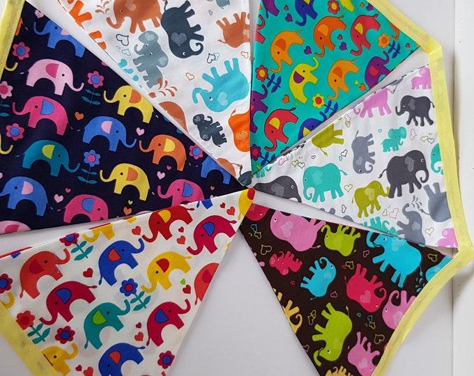 Elephant bunting, handmade bunding, elephant wallhanging, bunting for kids, kids bunting