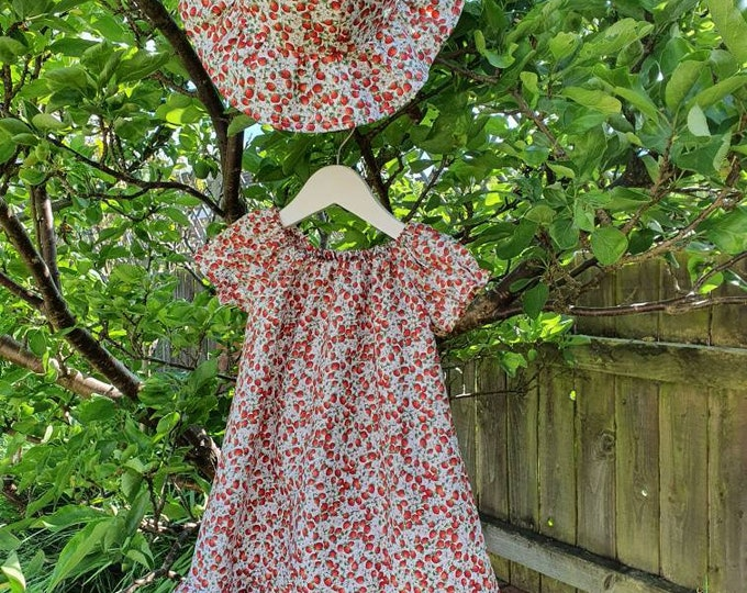 Summer dress and hat, size 3-4yrs approx, pretty print polycotton fabric, child's dress, dress for girl aged 3yrs, handmade dress, sunhat