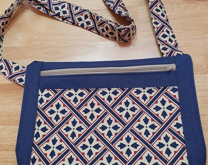 Bag for ladies, crossbody bag, adjustable strap bag, handmade bag, blue bag, summer bag, zipped bag,