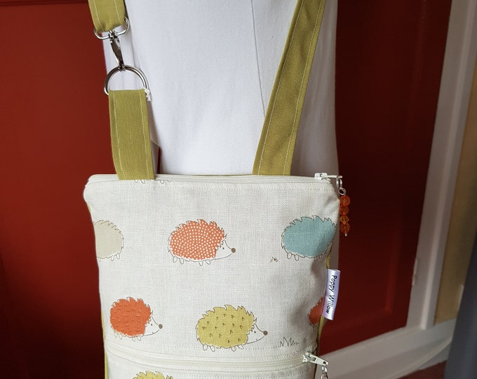 Crossbody bag, useful bag, phone pocket bag, adjustable strap bag, hedgehog bag, Mothers day gift, quirky bag, unique bag, zipped bag