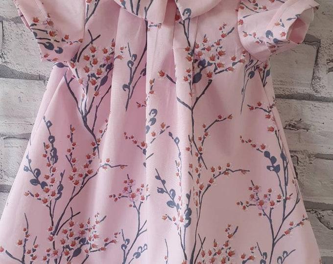 Baby dress, handmade dress, dress for baby, pink and grey dress, summer dress for baby, new baby dress, newborn gift, baby gift new baby