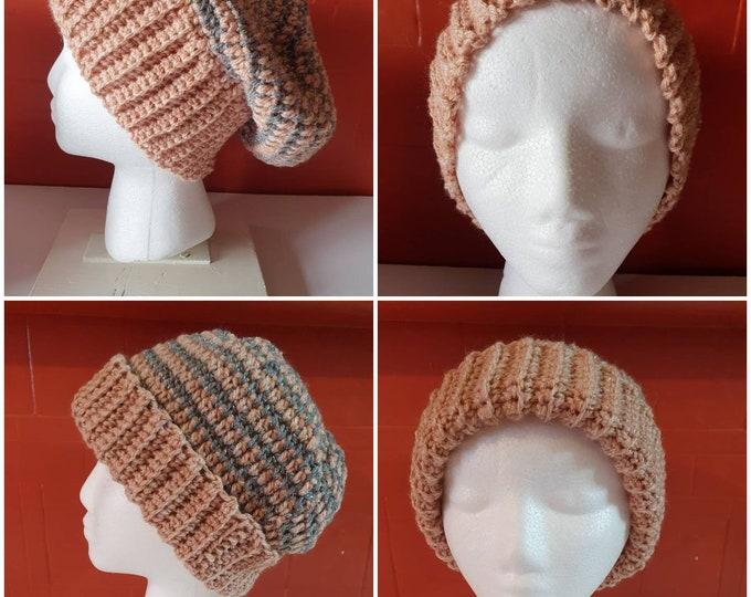 Beanie hat, handmade crochet hat, slouchy hat, warm crochet hat, silver and cream hat, stylish hat, winter hat, Christmas gift, trendy hat