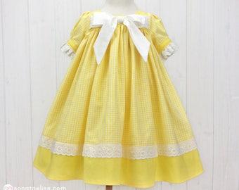 Yellow & White Toddler Dress - Toddler Easter Dress - Girls Easter Dress - Toddler Spring Dress - Toddler Summer Dress
