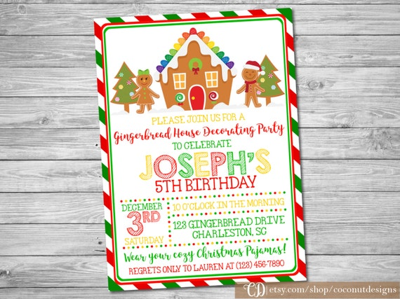 Gingerbread Decorating Party Gingerbread House Invitation Printable invitation Birthday Party Invite Personalized Digital Invitation