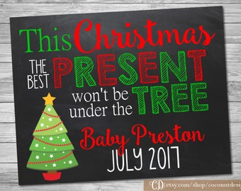 Christmas Pregnancy Announcement / Printable Chalkboard / Christmas Pregnancy / Little Present Under the Tree / Digital File
