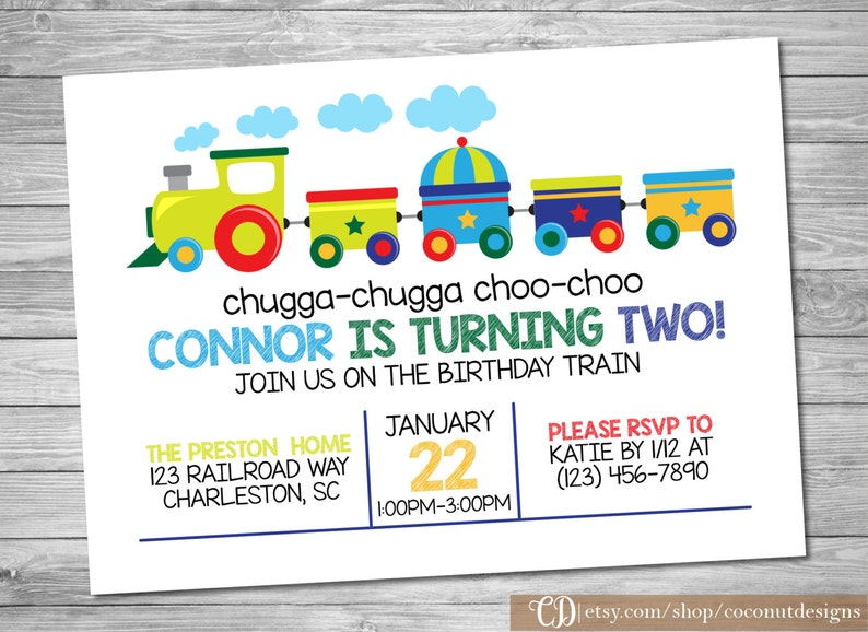Train Invitation Birthday
