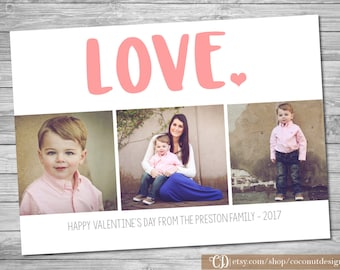 Valentine's Day Photo Card / LOVE / Pink Hearts / Valentine's Card / Collage Photo Card / Digital File