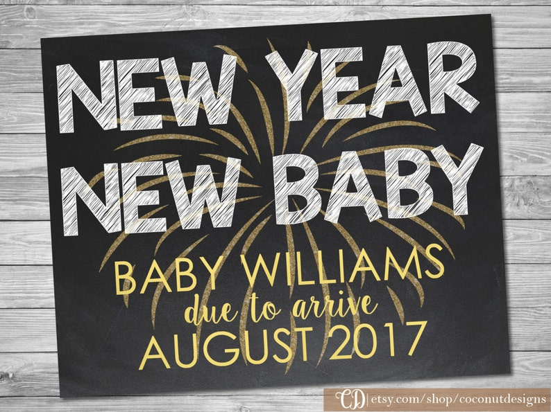 New Years Baby Announcement Sign / Pregnancy Chalkboard / New image 0